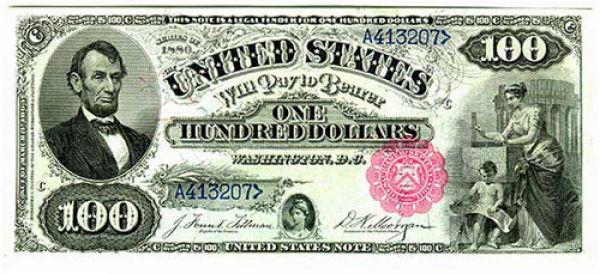 100 долларов США образца 1880 года
