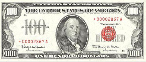 100 долларов США образца 1966 года