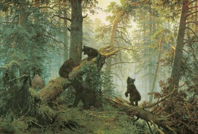 Шишкин Иван Иванович.  Утро в сосновом лесу.  1889 год.