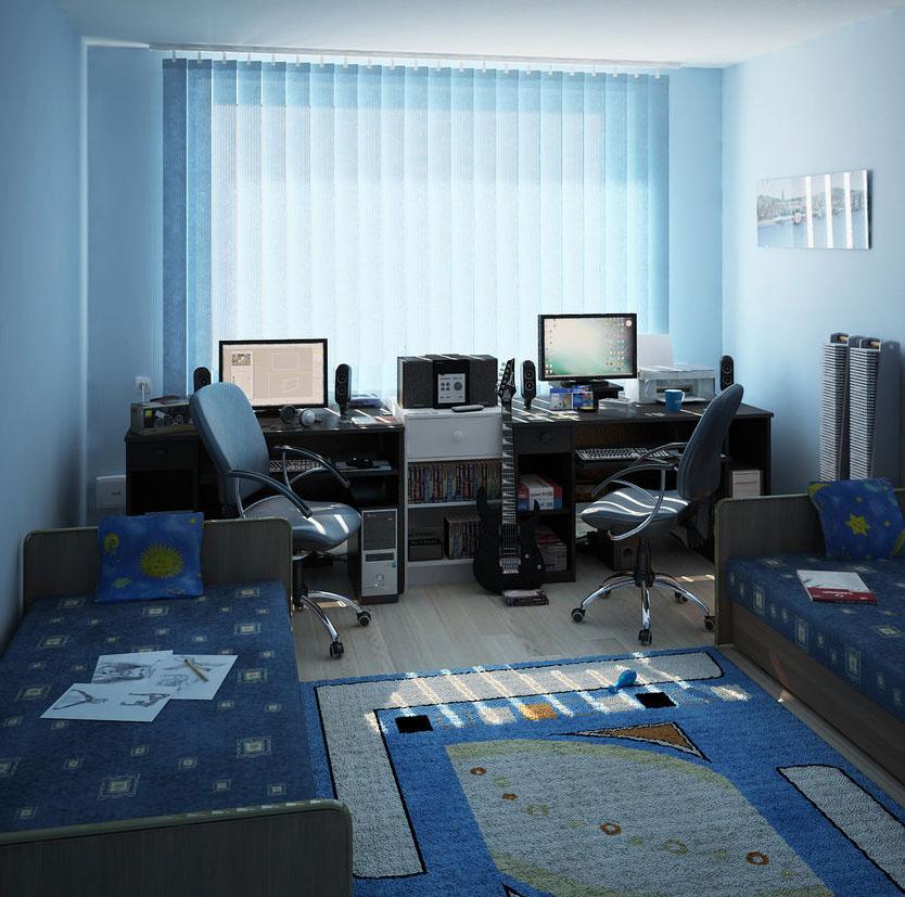 Дизайн комнаты для двух мальчиков подростков