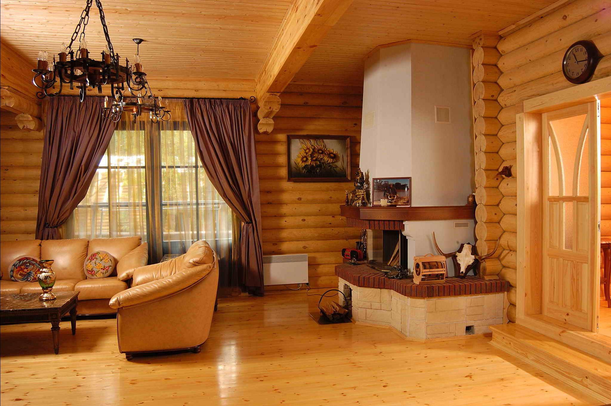 Дизайн оцилиндрованного дома внутри