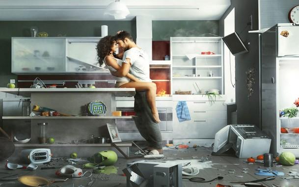 Секс парня и девушки на кухне