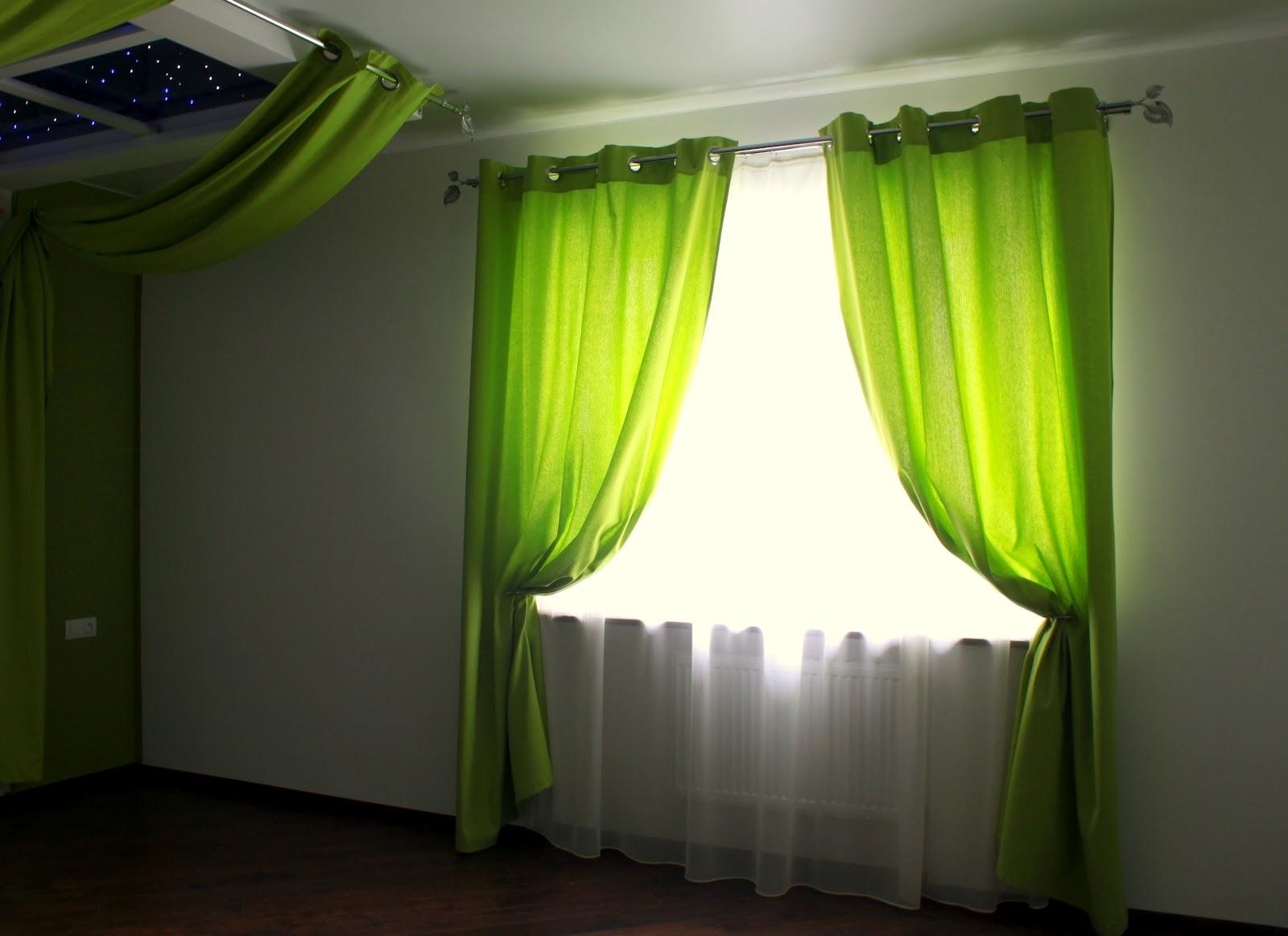 Шторы в зеленую комнату фото