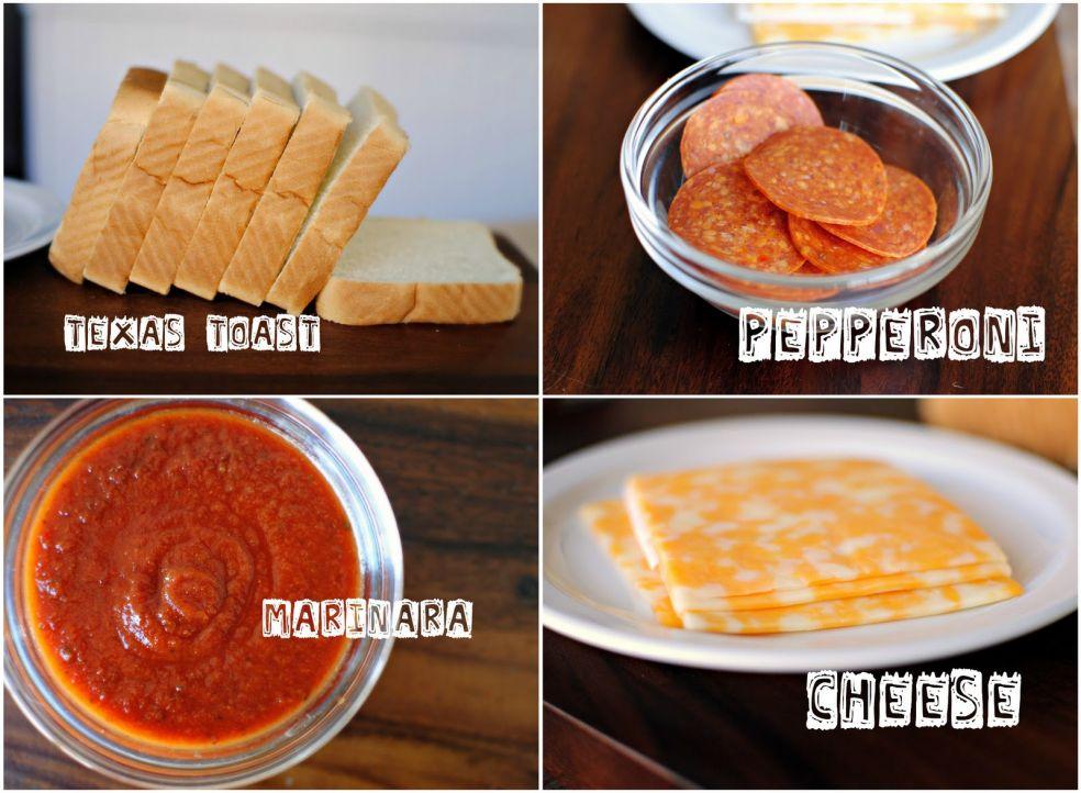 Тостовый хлеб, пепперони, соус маринара, сыр