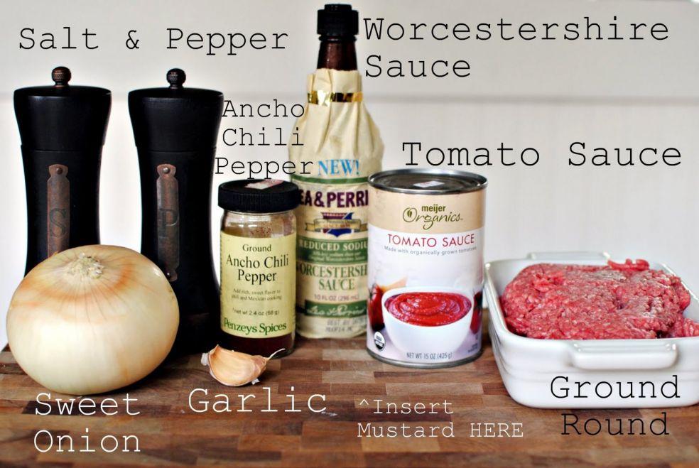 Соль и перец, вустерский соус, чили перец, томатный соус, сладкий лук, чеснок, мясной фарш