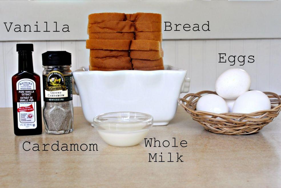 Экстракт ванили, кардамон, тостовый хлеб, яйца, молоко