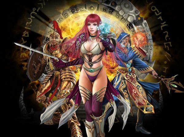 Скачать обои runes of magic, руны, магия, волшебница, трусики, sexy, online