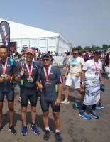 Здоровое тело и дух: работники асбестового комбината взяли серебро в командном триатлоне